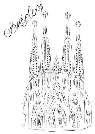 Illustration pour La Sagrada Familia, dessinée par Antoni Gaudi. Est une grande église catholique romaine à Barcelone, qui est en cours de construction depuis Mars 19,1882 et n'est pas encore terminé - image libre de droit