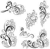 Grapevine Wine black and white design elements