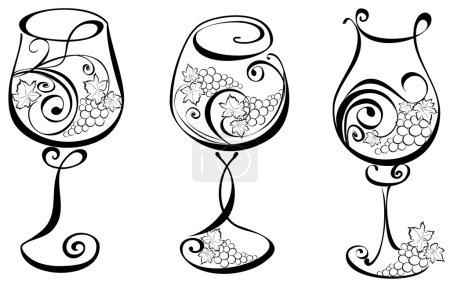 Illustration pour Verre à vin avec vignes. Éléments vectoriels de conception du vin . - image libre de droit