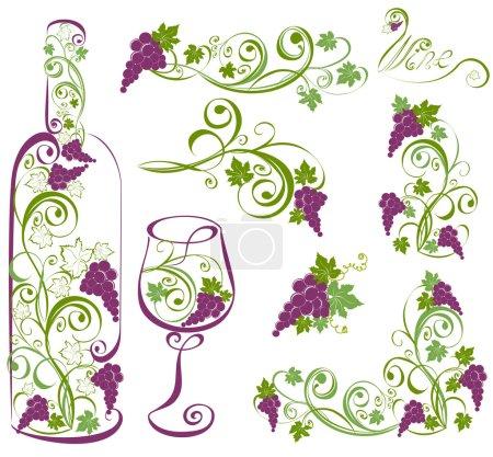 Illustration pour Éléments vectoriels de conception du vin. Bouteille de vin et verre à vin avec vignes . - image libre de droit