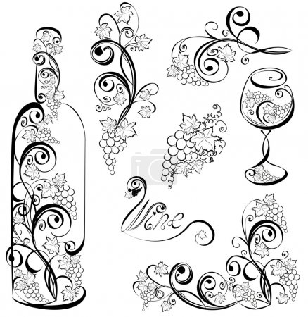 Vector wine design elements. Wine bottle and wineglass with grap