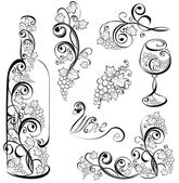 Vector wine design elements Wine bottle and wineglass with grap