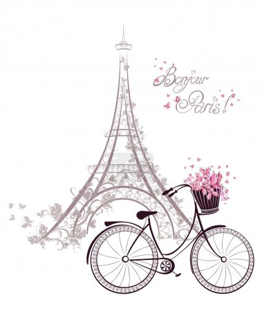 Illustration for Bonjour Paris text with tower eiffel and bicycle. Romantic postcard from Paris. Vector illustration. - Royalty Free Image