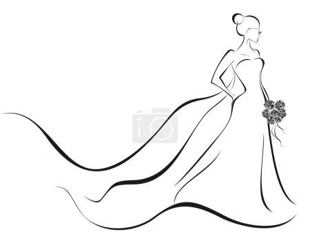 Fond mariage - mariée en robe à fleurs