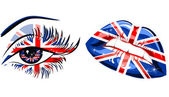 Flags of the Great Britain in beautiful female eye and lips