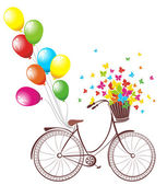 Romantic Birthday card. Bicycle with balloons and basket full of flowers and butterflies