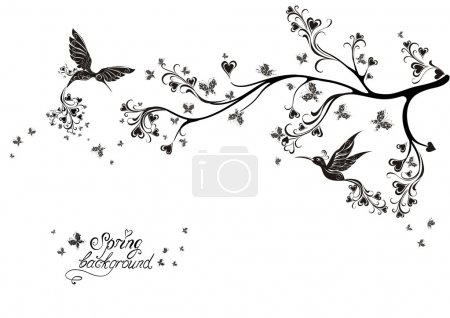Illustration for Spring tree and flying birds. Vector illustration - Royalty Free Image