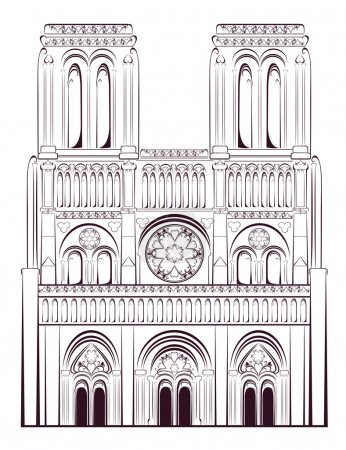 Notre Dame de Paris Cathedral in France. French tr...