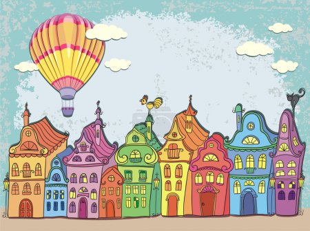 Vintage card with urban landscape. Old town with colored retro houses and hot air balloon over the city. Cartoon vector hand drawn.