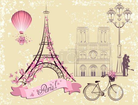 Paris symbols and landmarks. Romantic postcard from Paris. Vector set