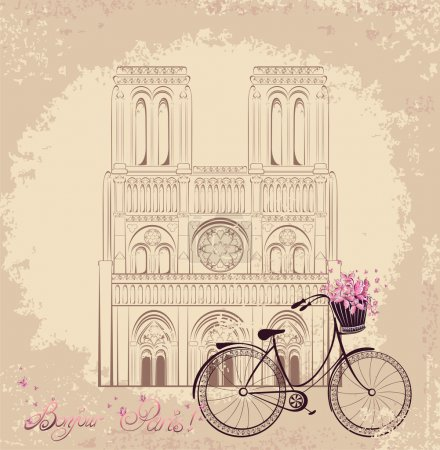 Bonjour Paris text with Notre Dame de Paris Cathedral and bicycle.  Romantic postcard from France.  Vector illustration
