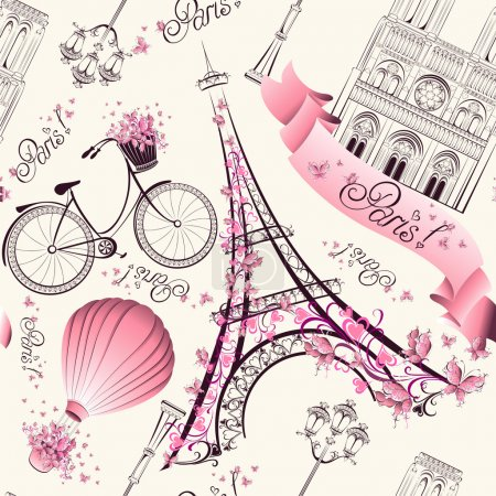 Illustration for Paris symbols seamless pattern. Romantic travel in Paris. Vector - Royalty Free Image