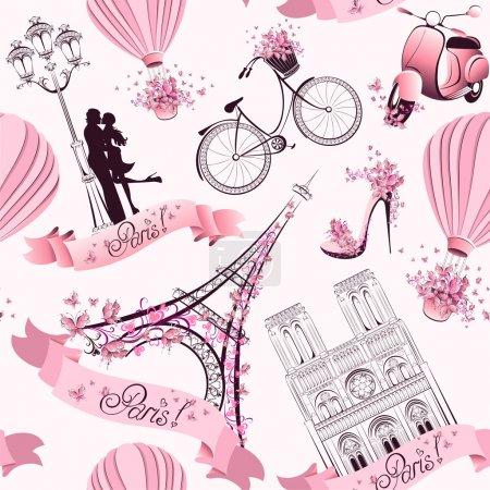 Paris symbols seamless pattern. Romantic travel in Paris. Vector