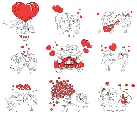 Couple in love. Set of funny pictures happy sheep. Idea for greeting card with Happy Wedding or Valentine's Day. Cartoon doodle vector illustration