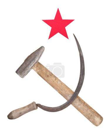 Soviet symbols of the hammer and sickle with a red...