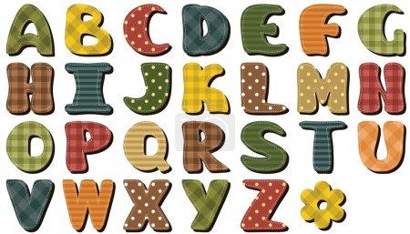 Different texture scrapbook alphabet on white background