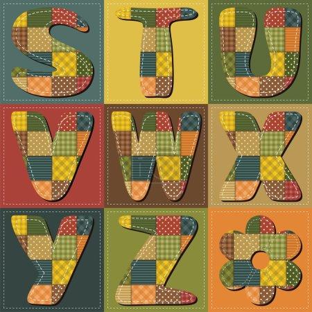Illustration pour Patchwork scrapbooking alphabet partie 1 illustration vectorielle - image libre de droit
