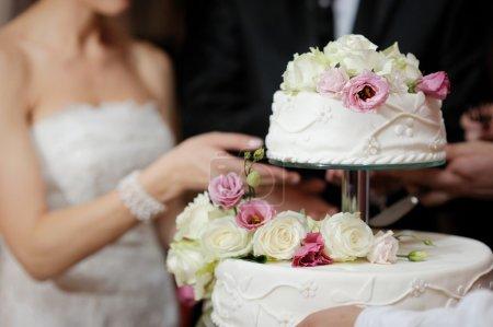 Photo pour Une mariée et un marié coupent leur gâteau de mariage - image libre de droit