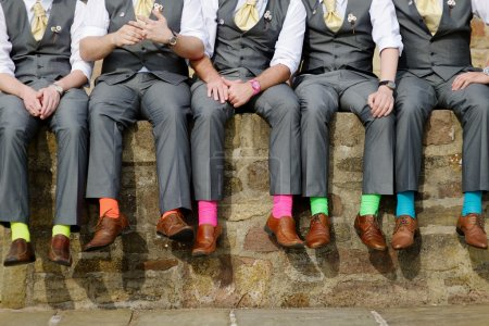 Photo for Funny colorful socks of groomsmen - Royalty Free Image