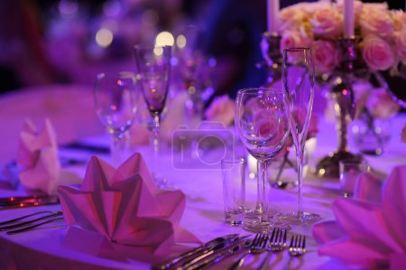 Photo for Table set for an event party or wedding reception - Royalty Free Image