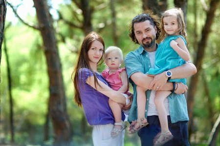 Photo for Family of four at beautiful summer day - Royalty Free Image