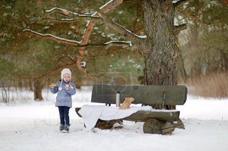 Photo pour Petite fille pique-niquer dans le parc en hiver - image libre de droit