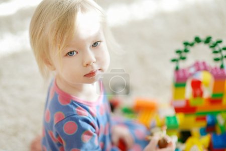 Adorable girl portrait at home
