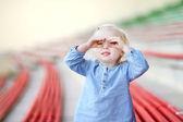 Cute girl on   stadium