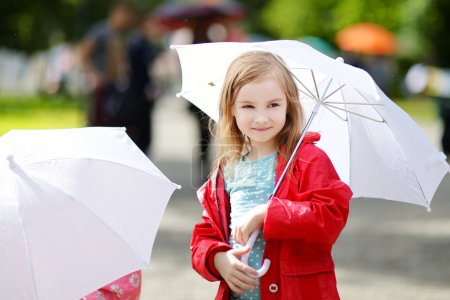 little girl at rainy day