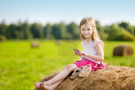 Photo for Adorable preschooler girl sitting on a haystack in wheat field on warm and sunny summer day - Royalty Free Image