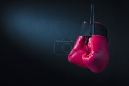 Photo for Red Boxing Gloves on dark background - Royalty Free Image