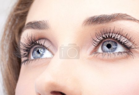 Closeup shot of woman eye with day makeup...