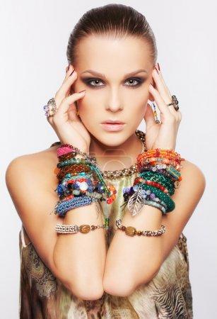 Beautiful woman in jewelry