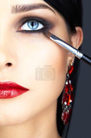 Close-up shot of woman eye makeup