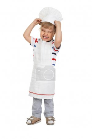 Young cook isolated on white background