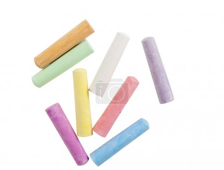 Photo for Chalks in a variety of colors arranged on a white background - Royalty Free Image