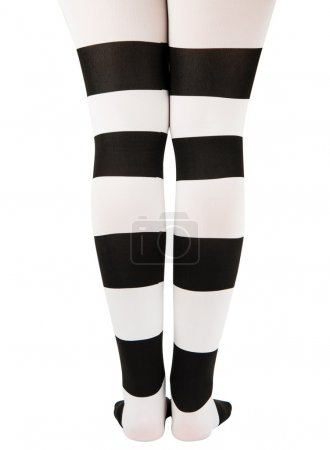 tights in black and white stripes on the legs girls