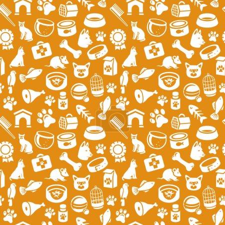 Illustration pour Modèle lumineux sans couture avec des icônes drôles de chat et de chien illustration vectorielle - image libre de droit