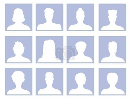 Illustration for Vector set with avatar icons - men and women silhouette - Royalty Free Image