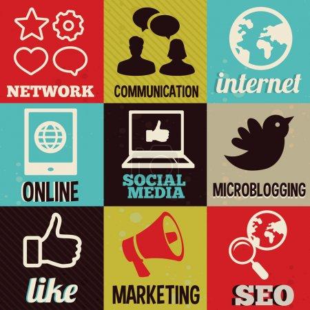 Foto de Conjunto con vector redondo retro etiquetas con las redes sociales e internet iconos - banner de fondo - Imagen libre de derechos