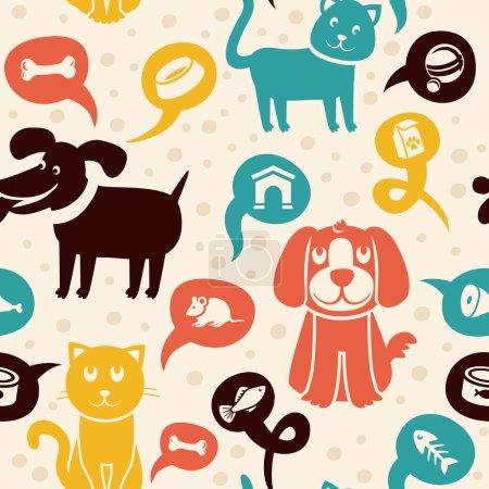 Illustration pour Modèle sans couture de dessin animé vectoriel avec des chats et des chiens drôles  - - image libre de droit