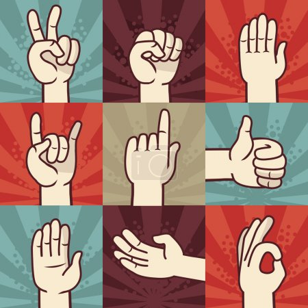 Illustration for Vector set of hands and gestures - illustration in retro comic style - Royalty Free Image