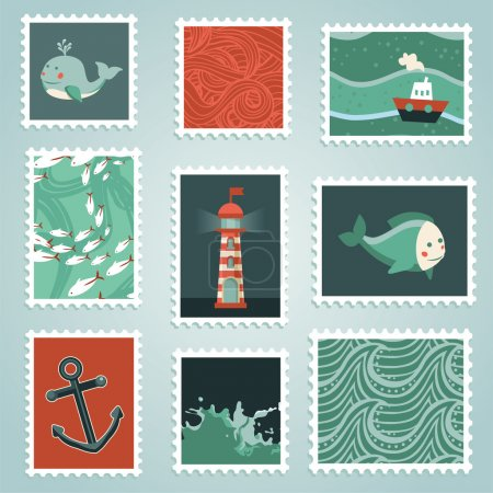 Vector set with stamps and sea design elements