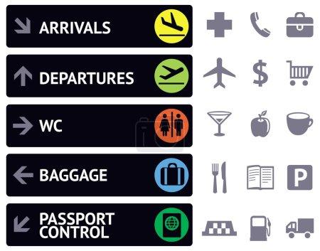 icônes et pointeurs pour la navigation dans l'aéroport