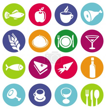 Illustration for Vector set or restaurant icons and food - pictograms on circles - Royalty Free Image