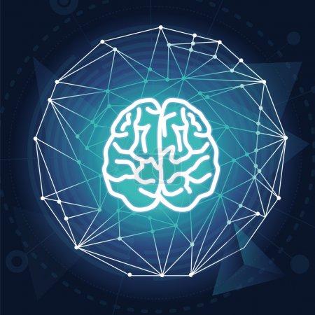 Illustration pour Concept de créativité vectorielle illustration du cerveau sur fond bleu - image libre de droit