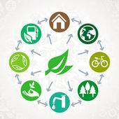 Vector green ecology concept - round design element made from icons and signs