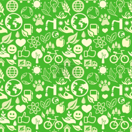 Illustration for Vector green seamless pattern with ecology signs and symbols - Royalty Free Image