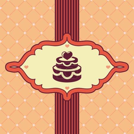 Ilustración de Tarjeta de felicitación del vector vintage con pastel de bodas - fondo - Imagen libre de derechos