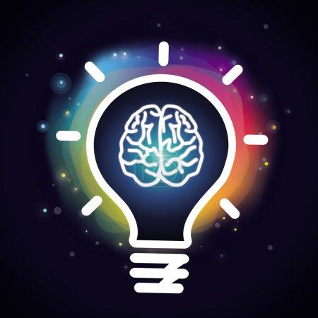 Illustration pour Concept de créativité Vector - icône de cerveau et ampoule - image libre de droit